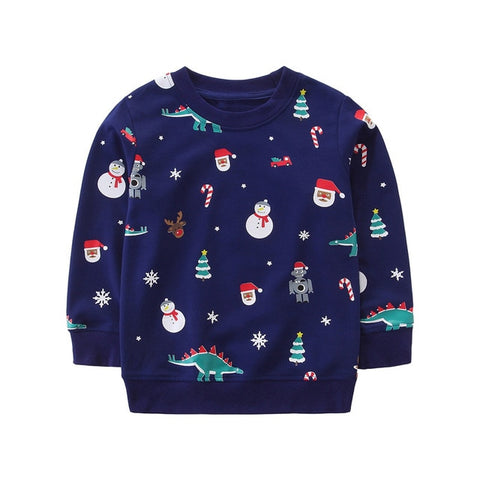 Holiday Time Black Navy Snowman Party Sweater Boys