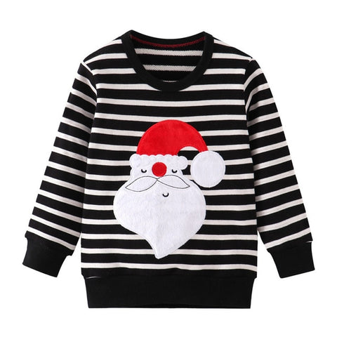 Holiday Time Black Stripe Santa Party Sweater