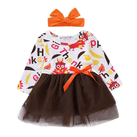 Thankful Turkey Colorful Bow Tutu Dress