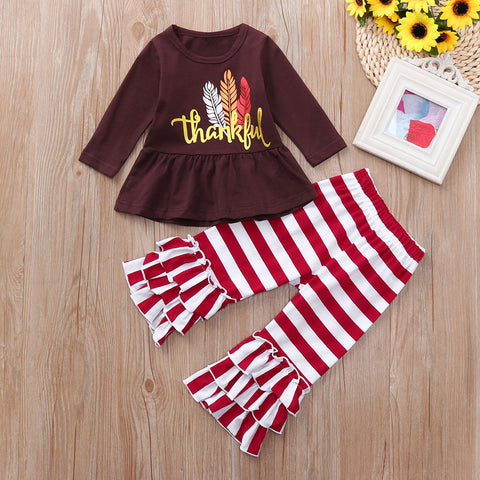 Thankful Feathers Burgundy Brown Stripe Ruffle Pants And Top