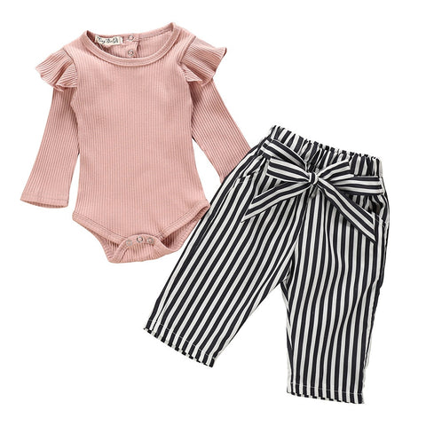 Mauve Pink Outfit Black Stripe Onesie And Pants