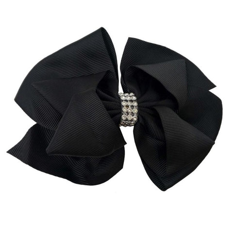 Black Sparkle Rhinestone Knot Hair Bow