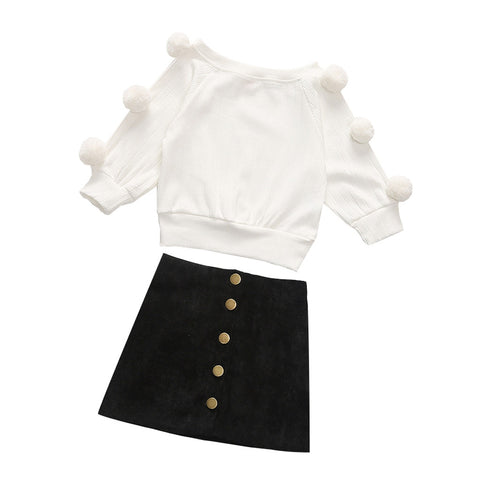 Pom Black Button Top And Skirt