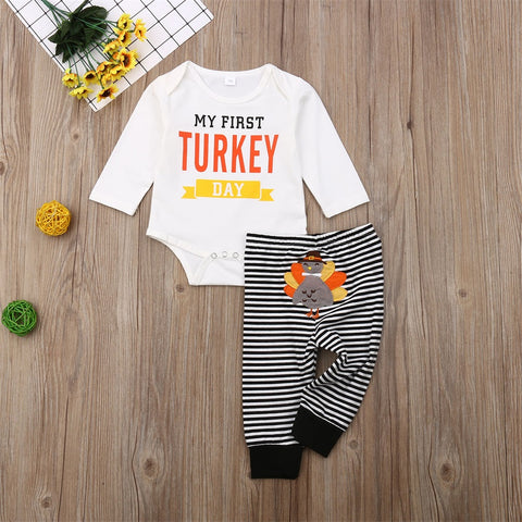 My First Turkey Day Feathers Thanksgiving Stripe Onesie And Pants Orange