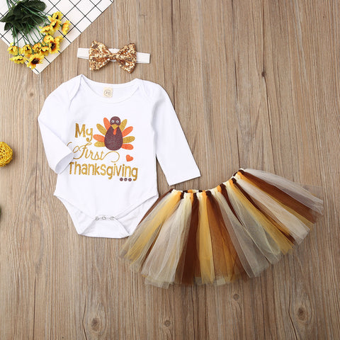 My First Thanksgiving Sparkle Turkey Feathers Tutu Onesie And Skirt Set