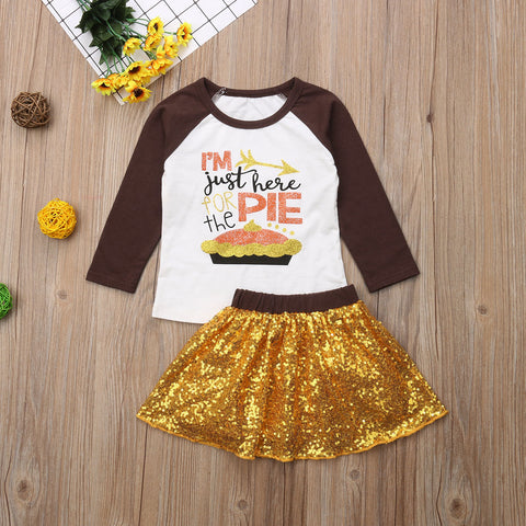 I'm Just Here For The Pie Sparkle Gold Sequin Skirt And Top