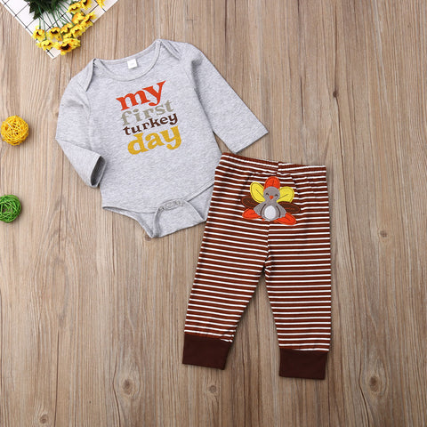 My First Turkey Day Brown Stripe Feathers Gray Onesie And Pants