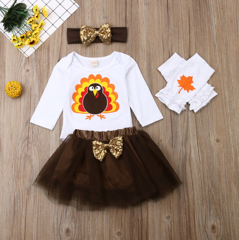 First Thanksgiving Sparkle Turkey Leaves  Onesie tutu skirt Outfit Set