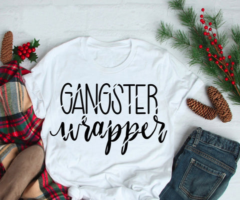 Gangster Wrapper Christmas White Shirt Adult