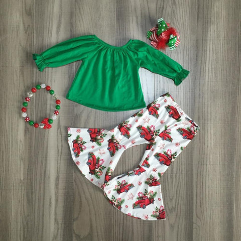 Green Vintage Christmas Truck Ruffle Flair Bell Bottom Pants Top Necklace And Hair Bow Set