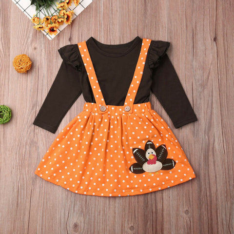 Football Turkey Outfit Orange Polka Dot Top And Jumper