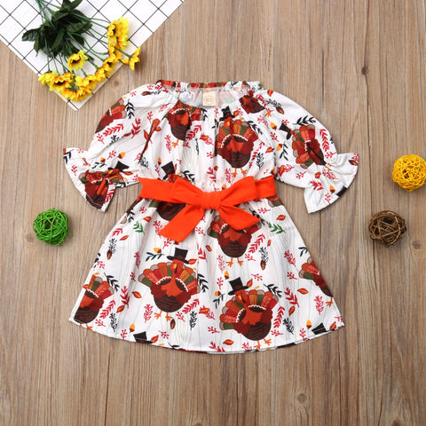 Thanksgiving Floral Turkey Orange Bow Ruffle Dress