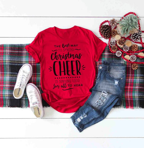 Best Way To Spread Christmas Cheer Red Santa Shirt Adult