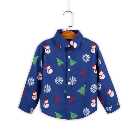 Holiday Time Navy Snowman Christmas Tree Button Shirt Boys