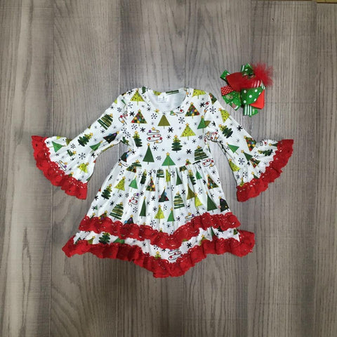 Red Lace Christmas Tree Light Ruffle Dress Feather Bow