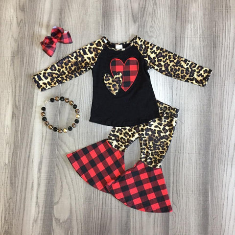 Hearts Leopard Red Buffalo Plaid Top Flutter Pants Bow And Necklace Set