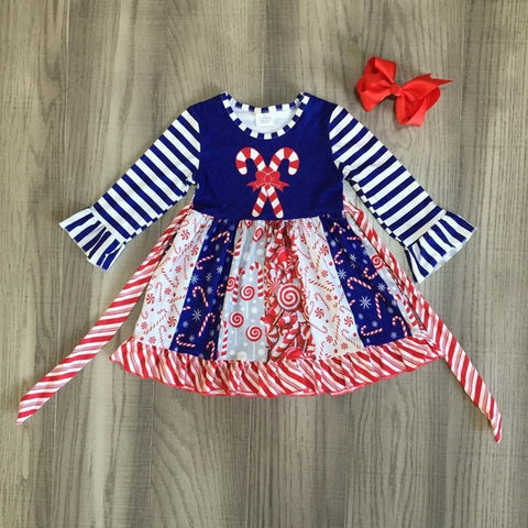 Navy Stripe Candy Cane Red Ruffle Dress And Bow