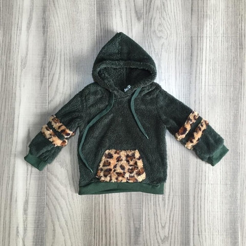 Leopard Forest Green Hoodie Sherpa Plush Zip Sweater