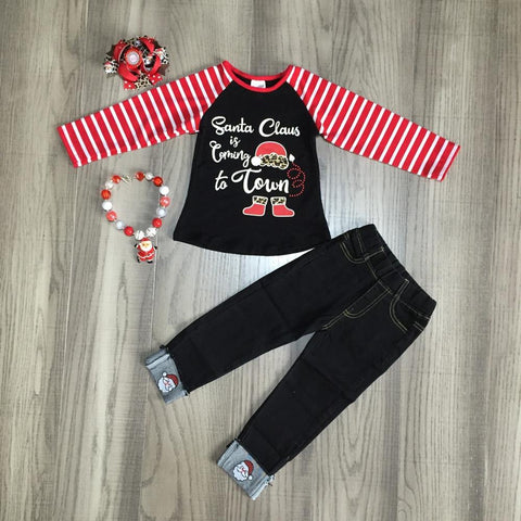Santa Is Coming To Town Cheetah Red Stripe Raglan Top Jeans Necklace And Hair Bow Set