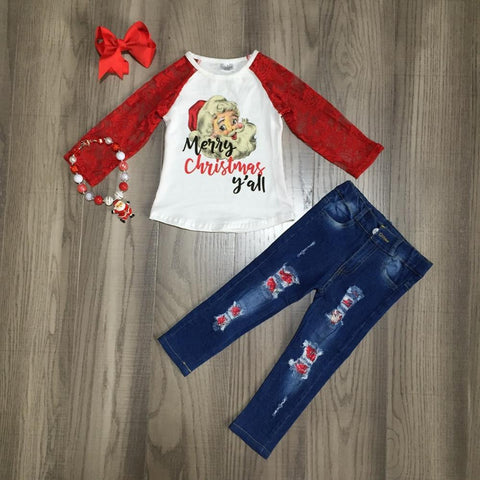 Vintage Santa Merry Christmas y'all Red Lace Top Jeans Necklace And Bow Set