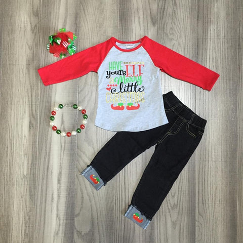 Have Yours ELF Merry Little Christmas Raglan Red Top Jeans Necklace And Bow Set