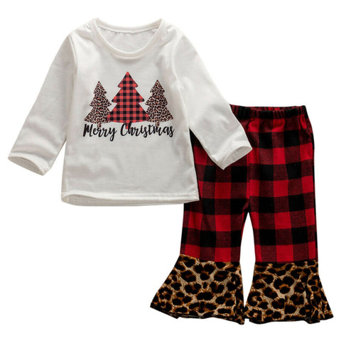 Merry Christmas Leopard Red Buffalo Plaid Top And Pants