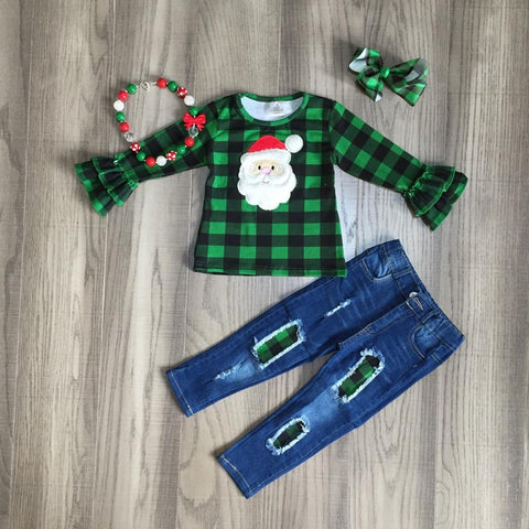 Green Buffalo Plaid Ruffle Santa Top Jeans Necklace And Bow Set