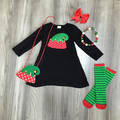 Christmas ELF Pocket Black Green Stripe Hat Dress Purse Bow Leggings And Necklace Set