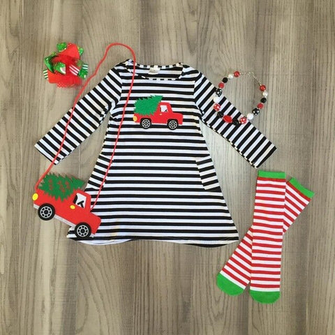 Christmas Tree Truck Pocket Black Stripe Dress Purse Bow Leggings And Necklace Set