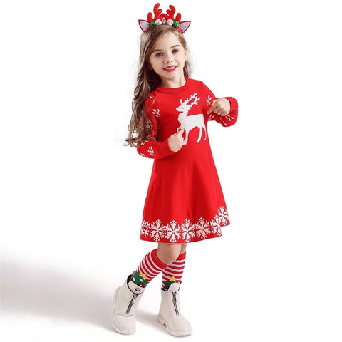 Holiday Time Red Snowflake Christmas Sweater Reindeer Dress