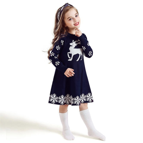 Holiday Time Navy Snowflake Christmas Sweater Reindeer Dress