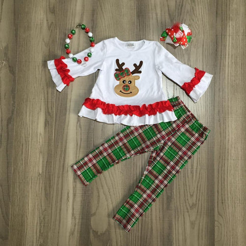 Reindeer Green Plaid Christmas Ruffle Top And Pants Hair Bow Necklace Set