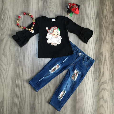 Leopard Vintage Santa Black Ruffle Top Jeans Necklace And Hair Bow Set