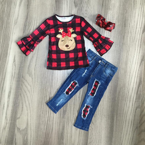 Red Buffalo Plaid Reindeer Top Jeans Hair Bow Set