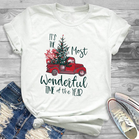 Red Truck Tree Wonderful Time Of The Year Shirt Adult