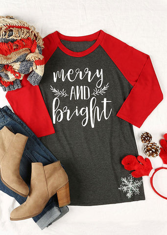 Gray Merry And Bright Red Raglan Shirt Adult