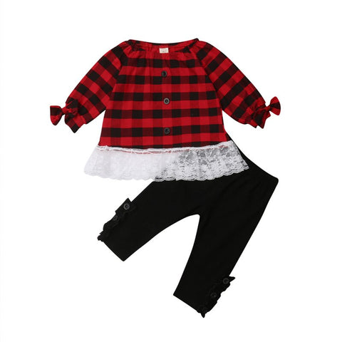 Red Buffalo Plaid Bows Button Lace Top And Pants