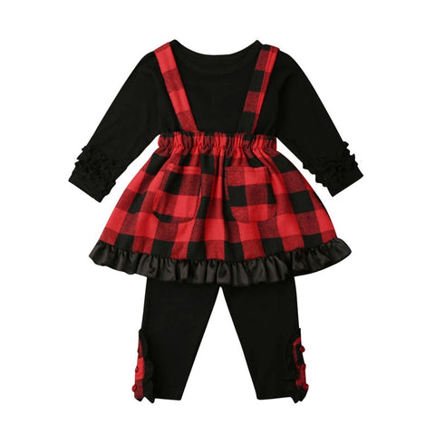 Red Black Buffalo Plaid Ruffle Top Pants And Jumper Dress