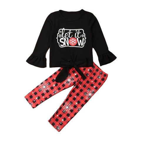 Let It Snow Snowflake Red Buffalo Plaid Tie Top And Pants