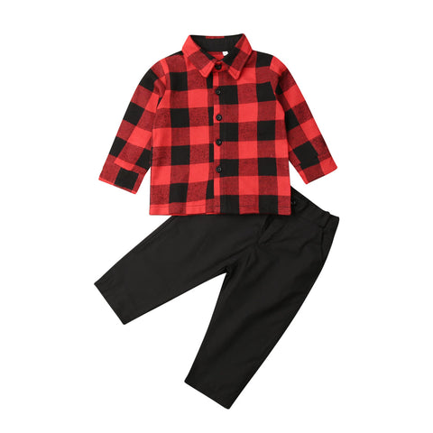 Red Buffalo Plaid Black Button Shirt Top And Pants Boy