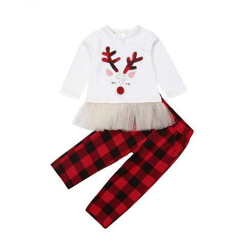 Rudolph Reindeer Red Plaid Buffalo Top And Pants