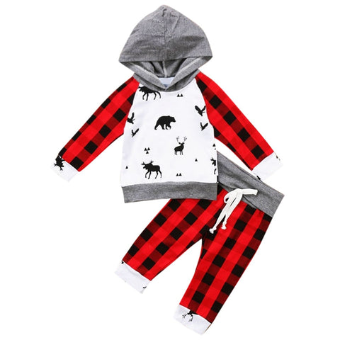 Red Buffalo Plaid Black Woodland Animals Deer Hoodie Top And Pants Boy