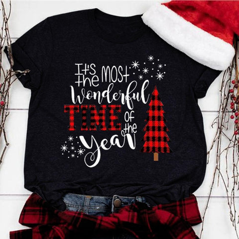 Most Wonderful Time Of The Year Buffalo Plaid Tree Snowflakes Shirt Adult