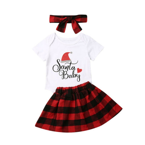 Santa Baby Red Buffalo Plaid Onesie Top And Skirt Set