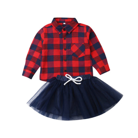 Red Navy Plaid Buffalo Button Shirt And Tutu Skirt