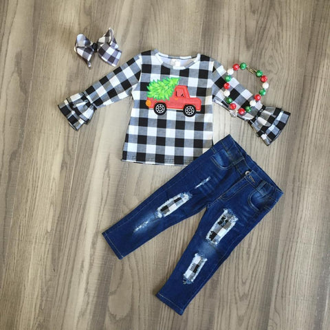 Red Vintage Truck Buffalo Plaid Ruffle Tree Top Jeans Necklace And Bow Set
