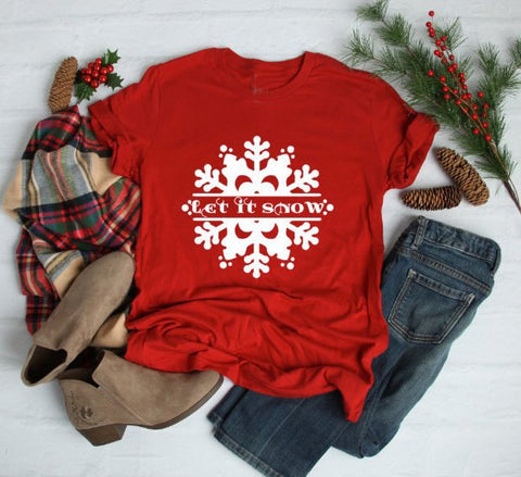 Let It Snow Red Snowflake Adult Shirt