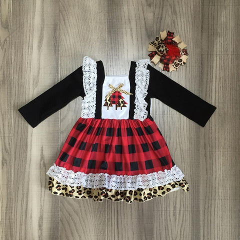 Leopard Red Plaid Tree Lace Black Dress Feather Bow