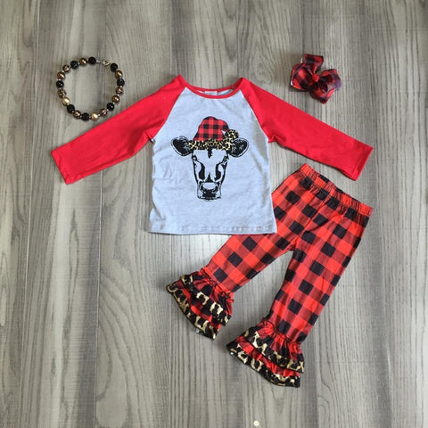 Merry Mooey Christmas Cow Red Buffalo Plaid Raglan Top And Pants Necklace Hair Bow Set