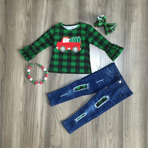Green Buffalo Plaid Vintage Truck Red Ruffle Tree Top Jeans Necklace And Bow Set